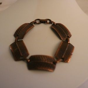 Vintage Copper Bracelet with Etched Stations